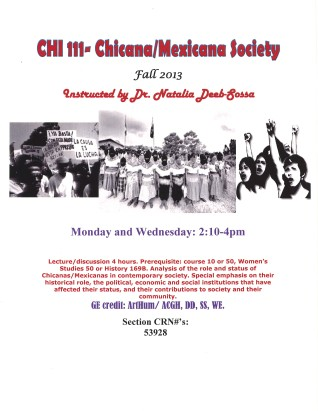CHI 111- Chicanas/Mexicanas in Contemporary Society